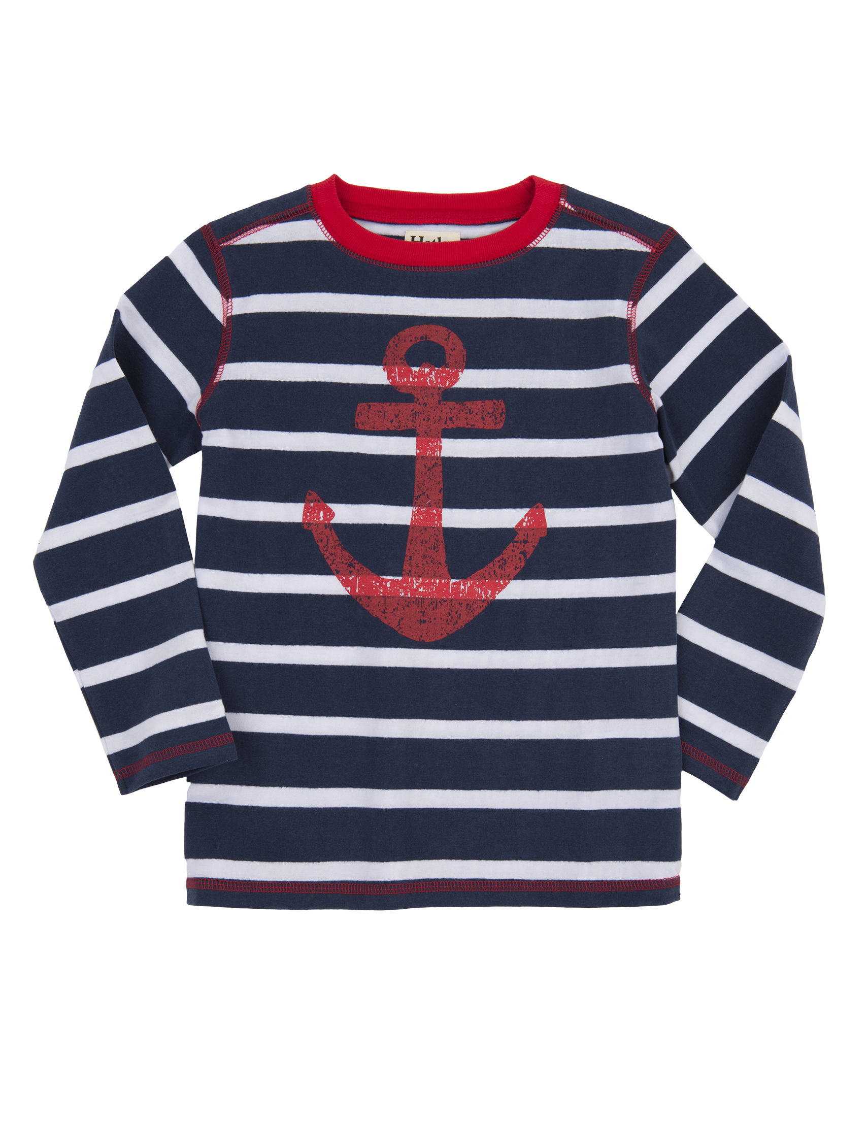 Hatley Navy & White Striped Tee with Large Red Anchor ...