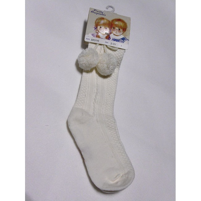 pretty originals cream pom pom socks