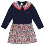 lilly and sid girls navy and floral dress with collar