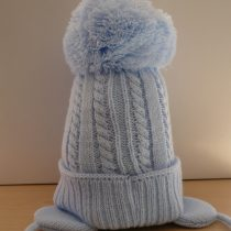 Blue Cable Knit hat with Large Pom Pom