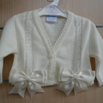 Spanish Style Balero Bow Cardigan for Baby Girl – Ivory