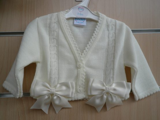 Spanish Style Balero Bow Cardigan for Baby Girl – Ivory