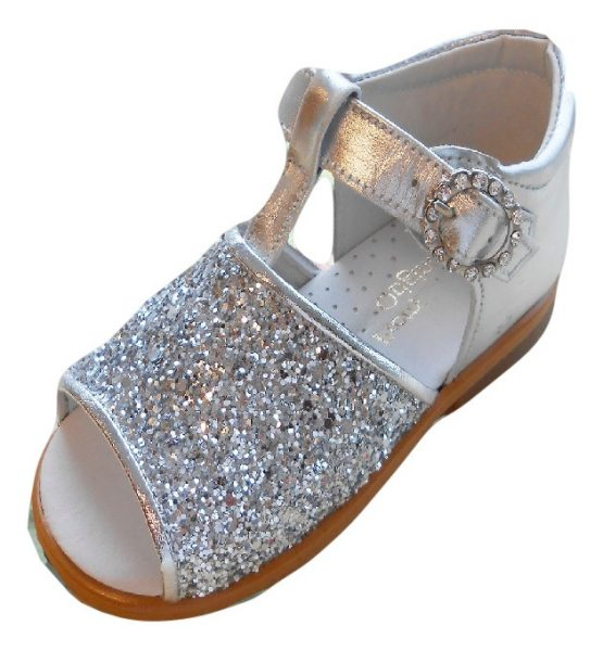 Pretty Originals Silver glitter leather sandals with diamante buckle