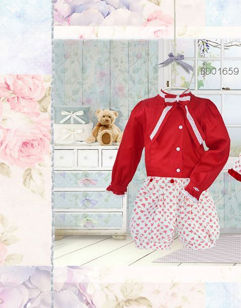 Pretty Originals Red Blouse and Cream/Red Shorts Set BD01659