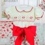 Pretty Originals Girls  Red Print Smocked winter Shorts Set