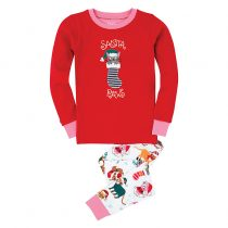 Hatley Girls' Santa Paws Pyjamas, Red by Hatley