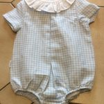 Babidu Check Romper with Frill Collar
