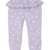 Hatley Baby Girl Lilac Frill Leggings with White flower.