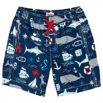 Hatley Boys' Vintage Nautical Print Swim Trunks, Navy/Multi
