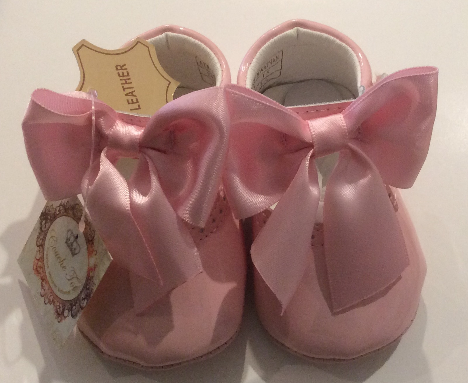 Leather Bow Pram Shoes by Couche Tot