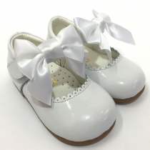 Satin Bow Mary Jane Shoe White Patent