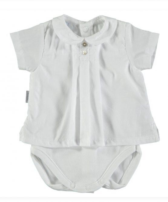 Baby Boy / Girl White Spanish Vest by Babidu Short Sleeve
