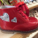 Pretty Originals Red Boots with Glitter Silver Heart