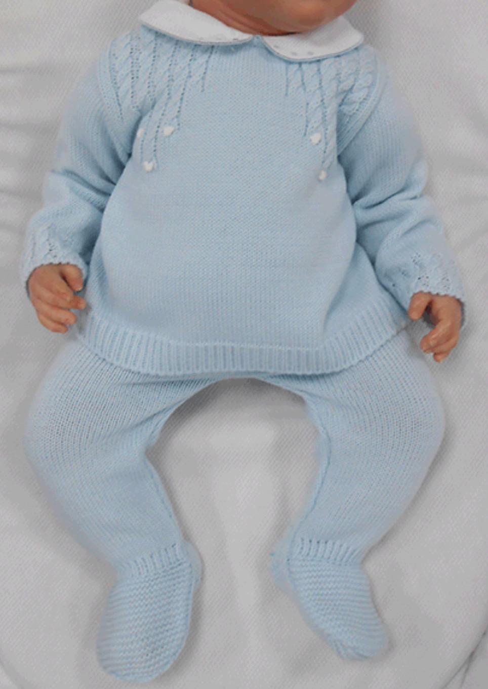 Sardon Blue Knit 2pc Set With Peter Pan Collar Briannagh