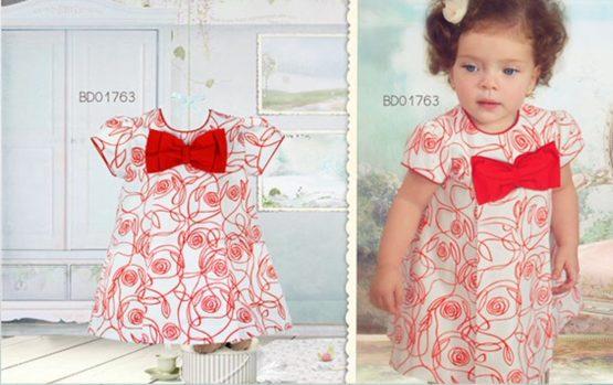 Pretty Originals Girls Large Red Bow Dress Ref BD01763