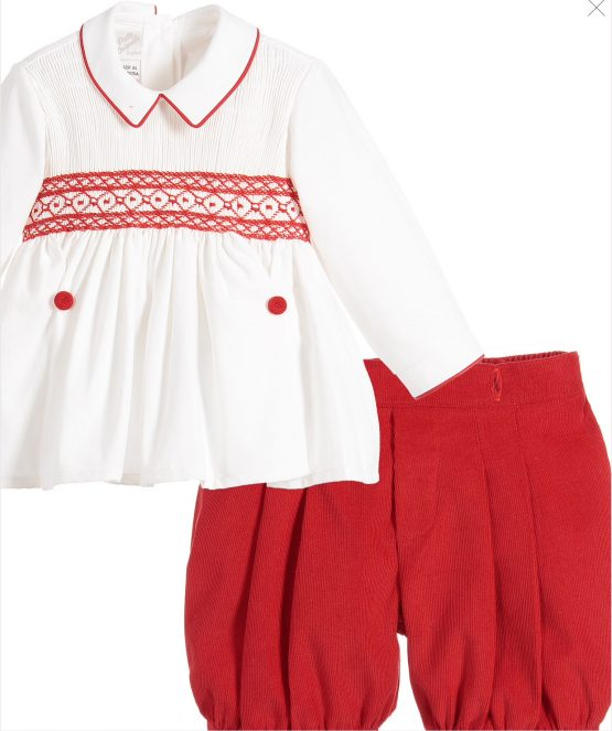 Pretty Originals Boys Smock Set - Red- Traditional Buster Set