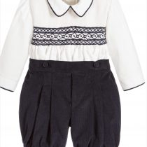 Pretty Originals Boys Navy d and Cream Smocked Set
