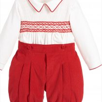 Pretty Originals Boys Red and Cream Smocked Set