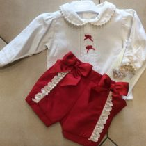 Pretty Originals Red/Cream Shorts and a Blouse set MB10637