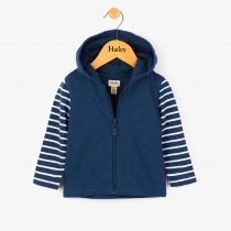 Hatley Navy Hoodie with Striped Sleeves