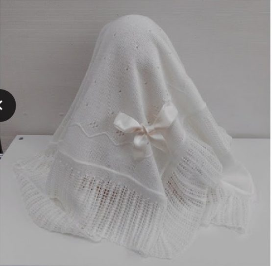 Sardon White Knit Baby Blanket