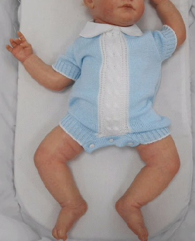 Baby Boy Blue Knit Summer Romper