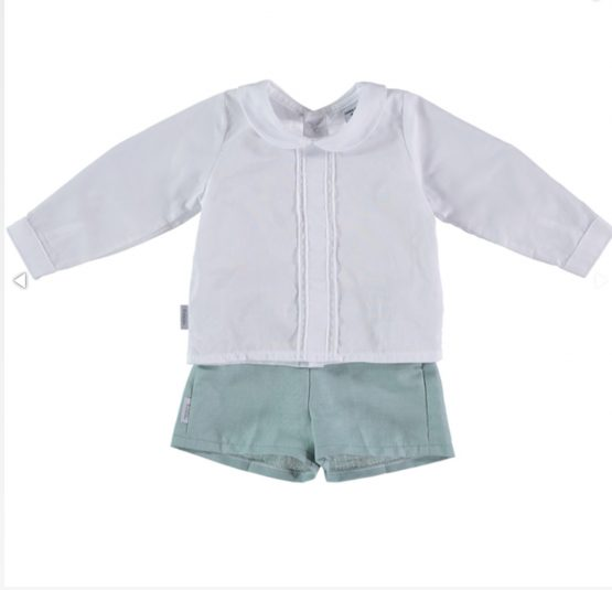 Babidu Boys White Long Sleeve Shirt and Shorts Set