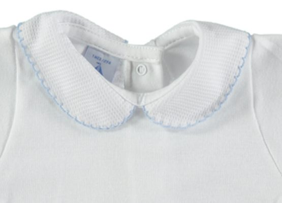 Peter Pan Pique Collar Vest / Body –  White with blue trim – by Babidu