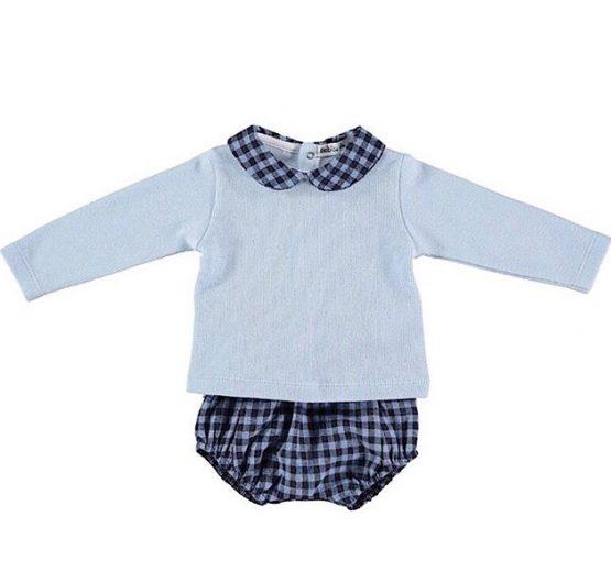 Babidu Baby 2 Piece Blue Check Set – Shorts and Peter Pan Collar Top