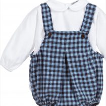Babidu Baby 2 Piece Blue Check Set – Short Romper and Peter Pan Collar Top