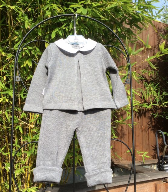 Babidu Baby 2 Piece Grey Set –  Peter Pan Top