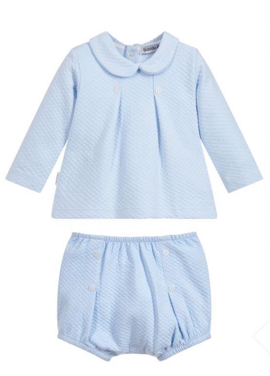 Babidu Baby 2 Piece Blue Set – Shorts and Box Pleat Peter Pan Top