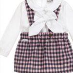 Babidu Girls Pink & Navy Check Skirt & Peter Pan Collar Blouse