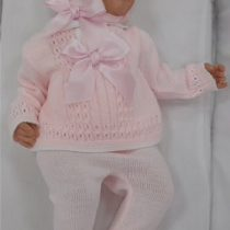Sardon Pink Knitted Set with Bonnet