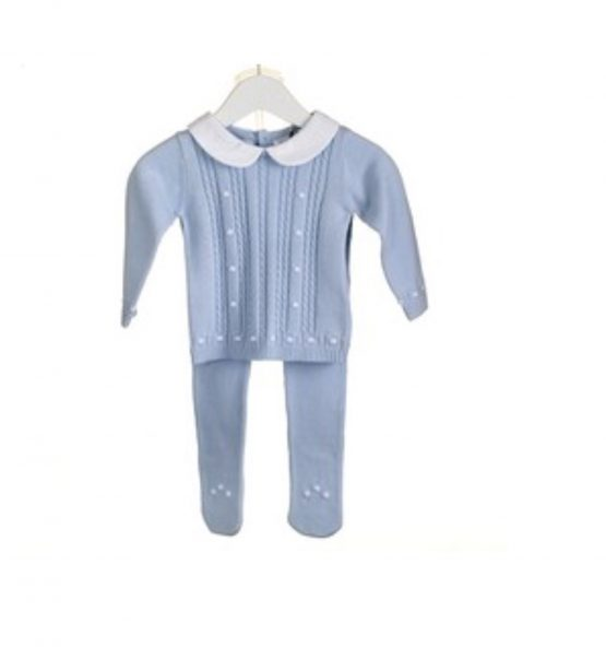 100% Cotton Knitted Blue 2 pc Set  with Peter Pan collar