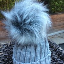 Pom Pom Faux Fur Hat – Grey