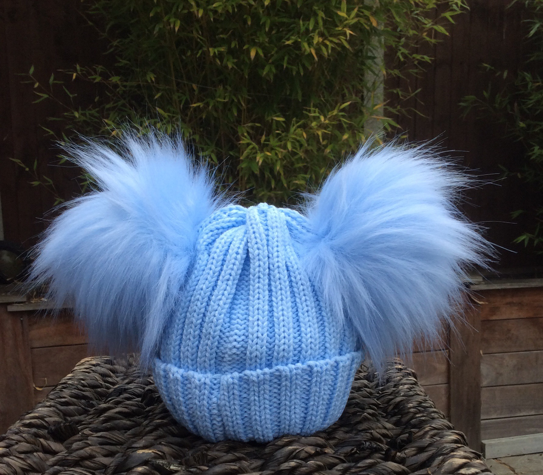 29ac9112328 Double Pom Pom Faux Fur Hat – Blue