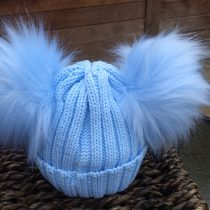 Double Pom Pom Faux Fur Hat – Blue