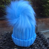 Pom Pom Faux Fur Hat – Baby Blue