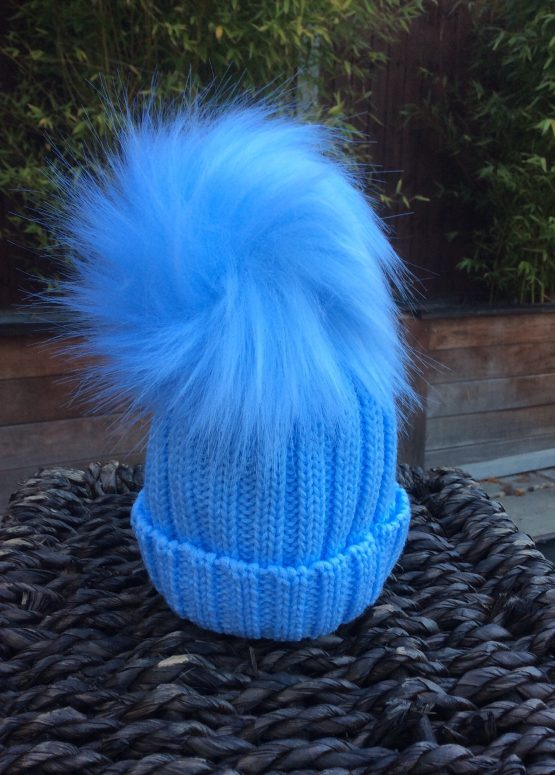 Pom Pom Faux Fur Hat – Baby Blue