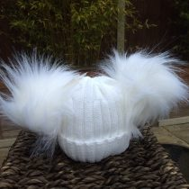Double Pom Pom Faux Fur Hat – Winter White