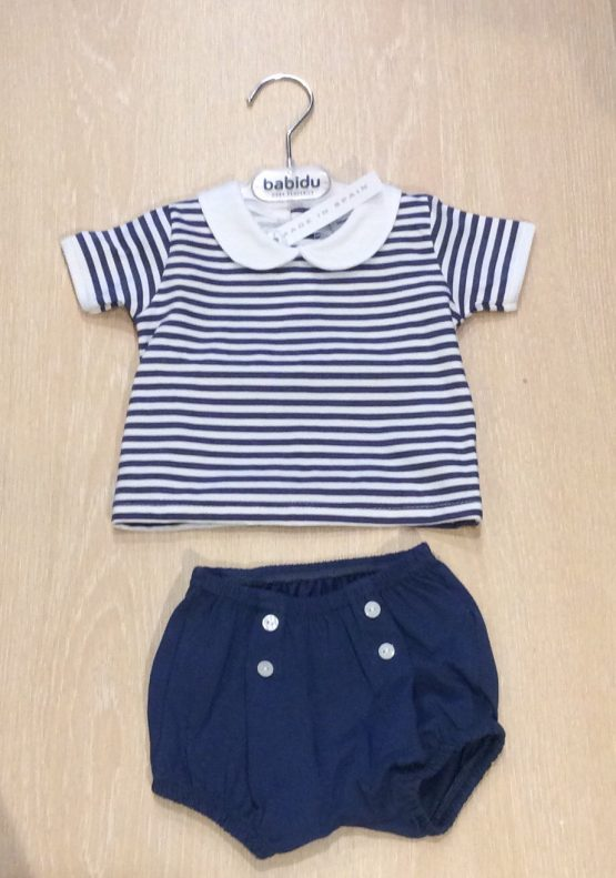 Babidu  2 Piece Navy and White striped shorts Set with Peter Pan Collar