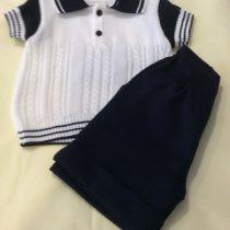 Pretty Originals Boys Navy and White Summer  Knit Shorts Set