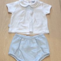 Babidu  2 Piece Blue Smocked  shorts Set with Peter Pan Collar