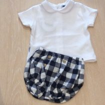 Babidu  2 Piece Navy Check shorts Set with Peter Pan Collar