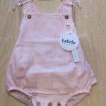 Babidu Ruffle Back Pink Romper with Polka Dots