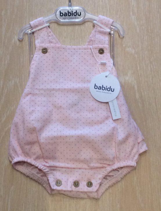 Spanish Brand Babidu Ruffle Back Pink Romper with Polka Dots Ref 31407