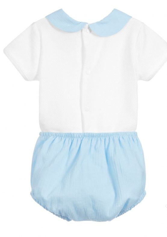 Babidu SS19 Ref 41123 Peter Pan Collar Boys 2 Piece Set with Blue Shorts.