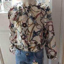 Girls White Printed Long Sleeve Blouse