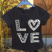 Girls Glitter & Pearls Black Summer Tee Shirt